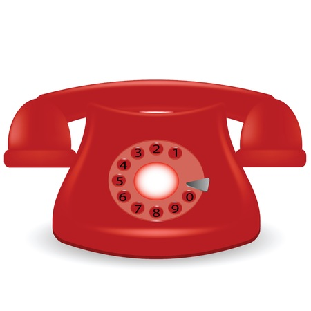 answering phone: colorful illustration with old red phone on a white background
