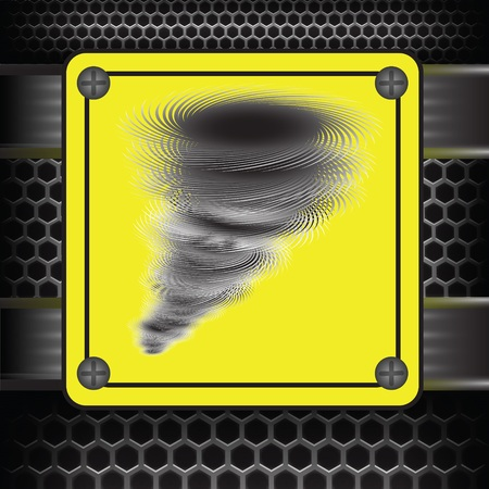 waterspout: colorful illustration with Hurricane warning sign on a dark background