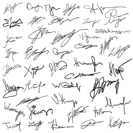 illustration with Set of autographs  on a white background