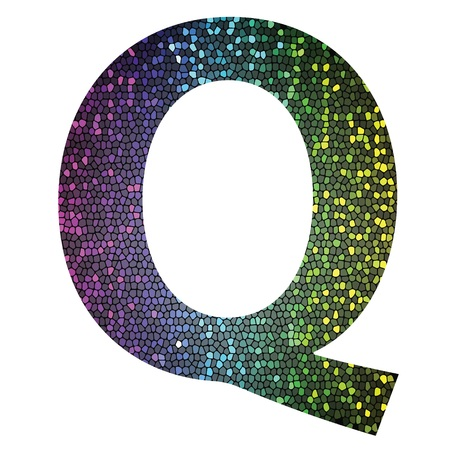 colorful illustration with letter Q of different colors on a white background