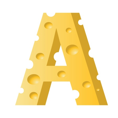 colorful illustration with cheese letter A  on a white background