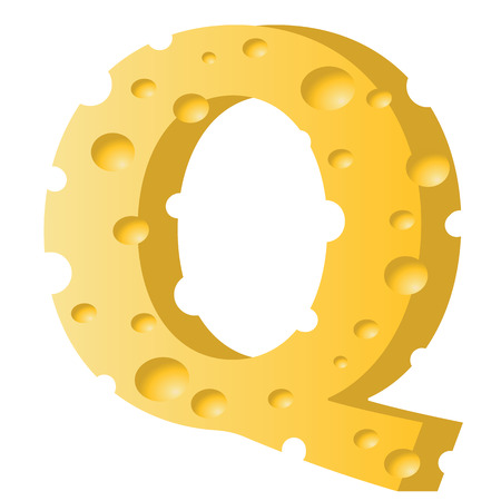 colorful illustration with cheese letter Q  on a white background Illustration
