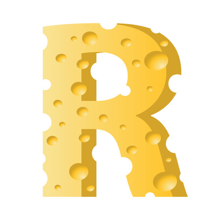 colorful illustration with cheese letter R  on a white background