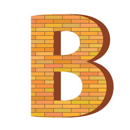 colorful illustration with brick letter B  on a white background Illustration