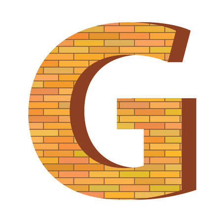 consonant: colorful illustration with brick letter G  on a white background Illustration