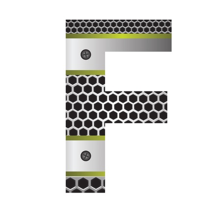 perforation: colorful illustration with perforated metal letter F  on a white background