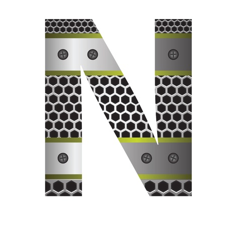 perforation: colorful illustration with perforated metal letter N  on a white background