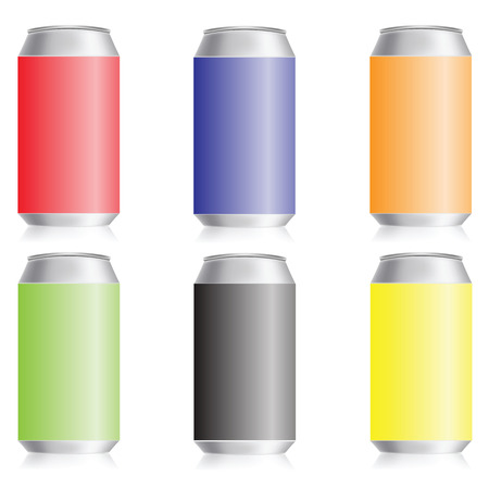 colorful illustration with metal drink cans on a white background Vector