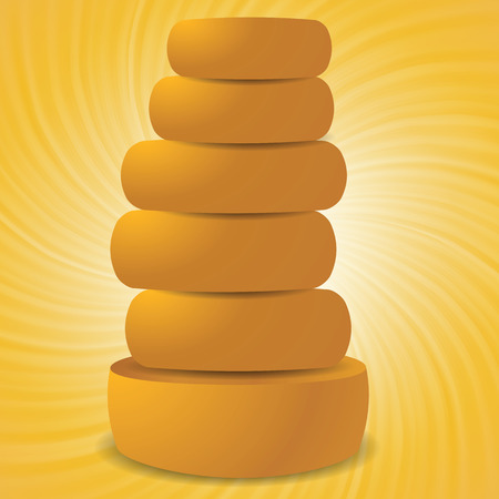 flavorful: colorful illustration with set of cheeses on a wave yellow background