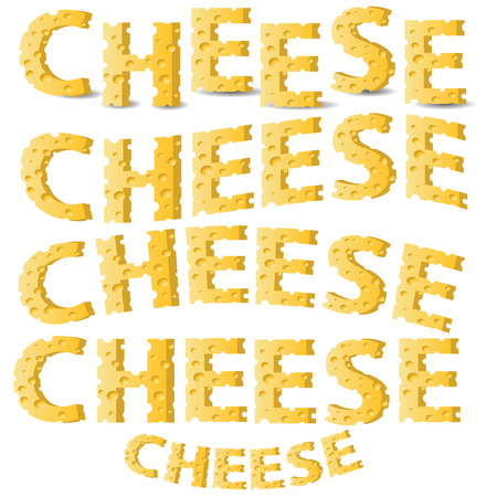 colorful illustration with  cheese letters  on a white background