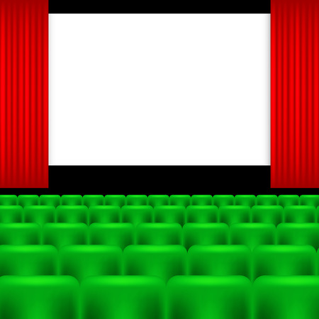 cinema screen: colorful illustration with cinema screen and green seats
