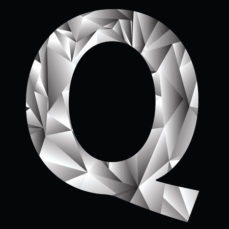 illustration with crystal letter Q  on a black background