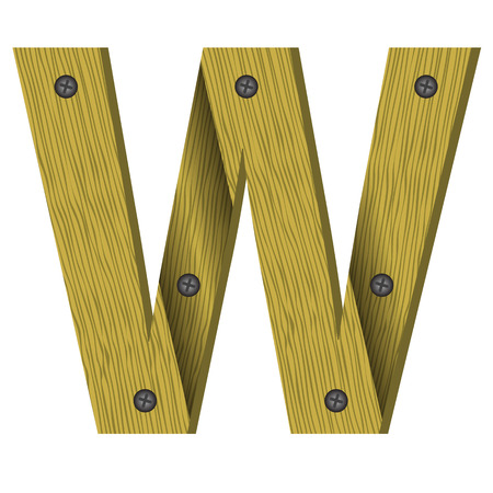 nailed: colorful illustration with wood letter W on  a white background