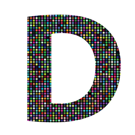 colorful illustration with multicolor letter D on  a white background Vector