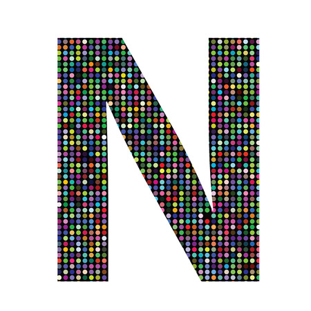 colorful illustration with multicolor letter N on  a white background Vector