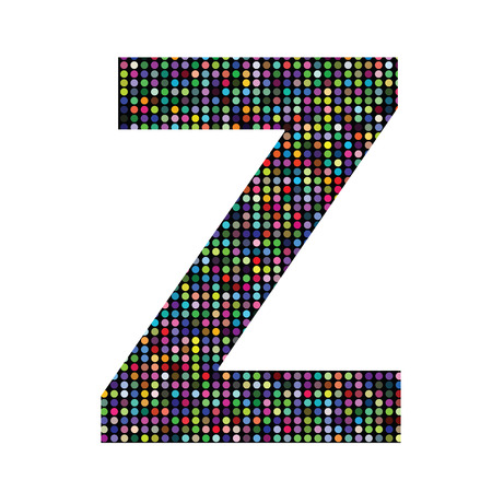 colorful illustration with multicolor letter Z on  a white background Vector