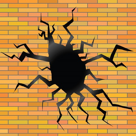 split level: colorful illustration with crack on a brick background