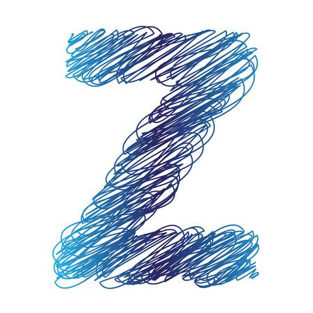 kleurrijke illustratie met geschetste letter Z op een witte achtergrond