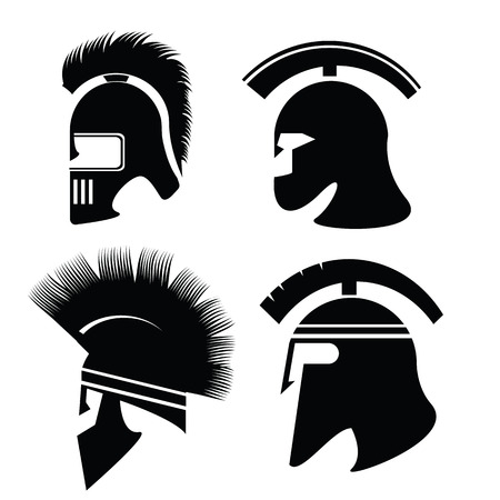 illustration with silhouettes of helmet  on  a white background Vector