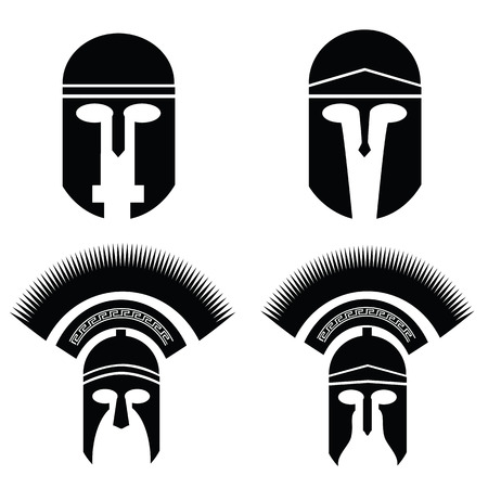 illustration with silhouettes of greek and roman helmet on  a white background Vector