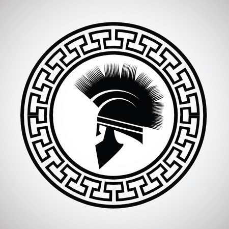 roman empire: colorful illustration with silhouettes of greek  helmet on  a white background