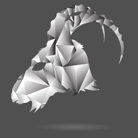goat head: colorful illustration with abstract polygonal silhouette of goat head on a gray background
