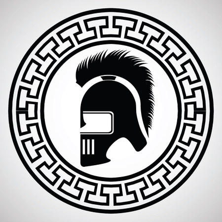 roman empire: illustration with silhouette of greek helmet on  a white background