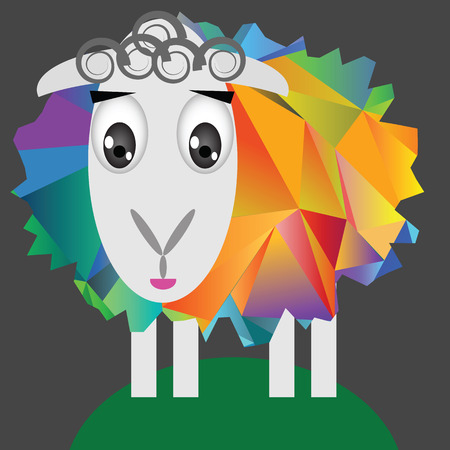 colorful illustration with cute sheep on a dark background Vector