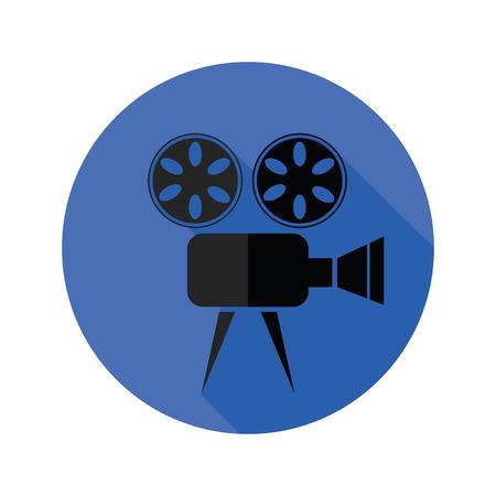 cinematografico: Ilustraci�n colorida con el icono plana Proyector de pel�cula sobre un fondo blanco