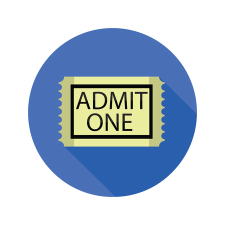 colorful illustration with  cinema ticket flat icon on a white background Vector