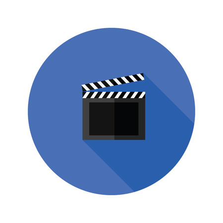 action movie: colorful illustration with  clipper board flat icon on a white background
