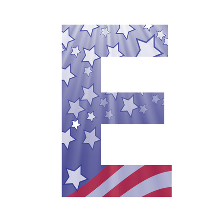colorful illustration with  american flag letter E on a white background Vector