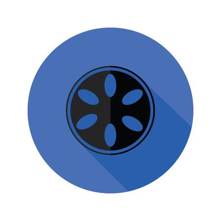 cinematograph: ilustraci�n colorida con el icono de la c�mara de carrete plana sobre un fondo blanco Vectores