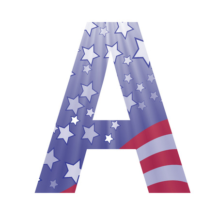us independance: colorful illustration with  american flag letter A on a white background