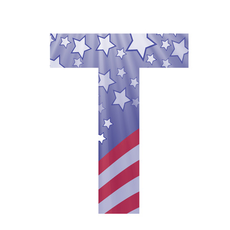 colorful illustration with  american flag letter T on a white background Vector