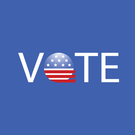 vote button: colorful illustration United States Election Vote Button on a blue background