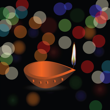 blurred lights: colorful illustration Diwali holiday background with blurred lights