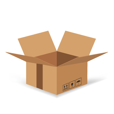 colorful illustration  with Cardboard box  on white background Vector