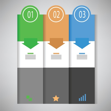 business graph: colorful illustration business template with three options