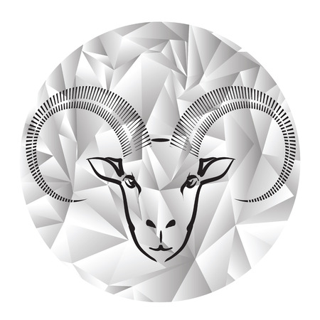 colorful illustration with head of ram on a polygonal grey background Vector