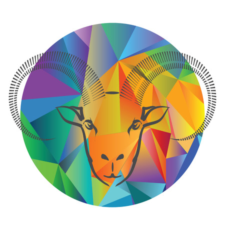 colorful illustration with goat head on a polygonal  background Vector