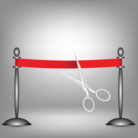 inaugural: colorful illustration with red ribbon on a grey background