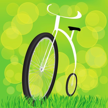 a two wheeled vehicle: colorful illustration with Retro-styled bicycle on a sun background for your design Stock Photo