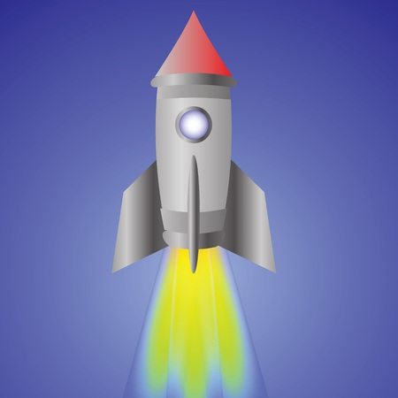 colorful illustration with spaceship for your design illustration