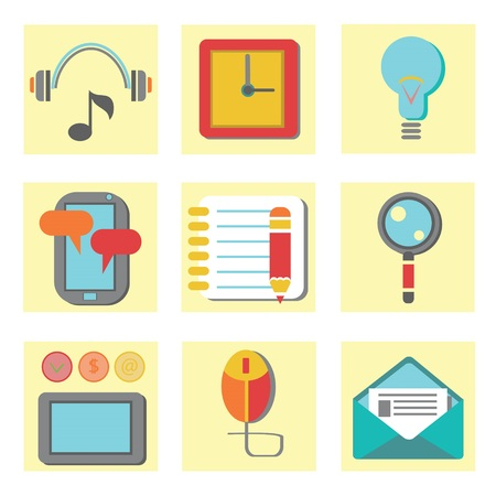 colorful illustration with  set of flat icons for web appplication on a white background