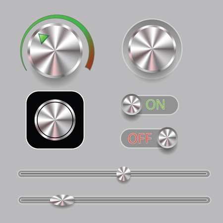 colorful illustration with  set of music button icon  on a gray background Stock Photo