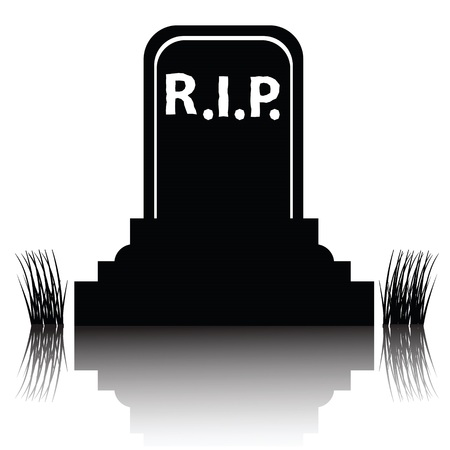 illustration with  black gravestone detailed silhouette  on a white background illustration