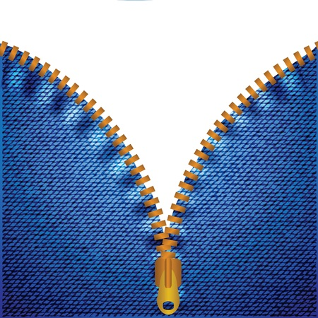 unzipped: colorful illustration with zipper and blue jeans background