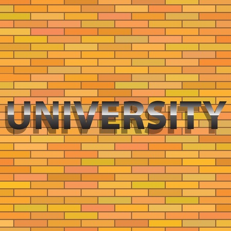 lecture hall: colorful illustration with  university sign  on  orange brick wall