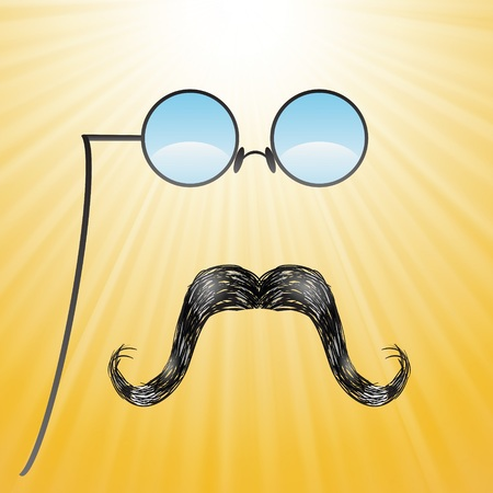 ray ban: colorful illustration with mustaches and glasses  on a sun background Stock Photo